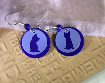 Kitten Earrings-Cat Lover Gift-Cute Kitten Purple Earrings- Silhouette earrings-purple/purple