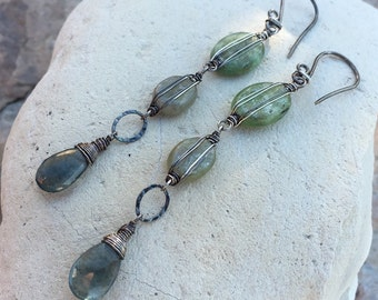 Green KYANITE and MOSS AQUAMARINE earrings, sterling silver, long and linear