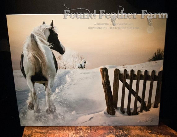 """Museum Wrapped Canvas Giclee of a Digital Art Image Titled """"The Winter Chase"""""""