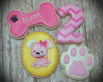 Pink Puppy Dog Girl Birthday Custom Decorated Sugar Cookies
