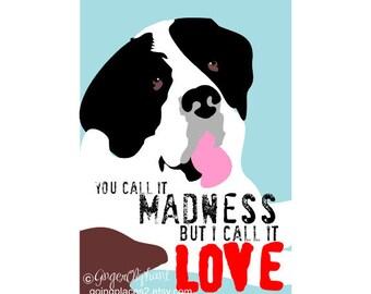 Saint Bernard Love Art Dog Print Wall Decor