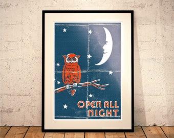 Open All Night, Owl Print (Wall Decor // Dorm Room Ideas // Nursery Decor)