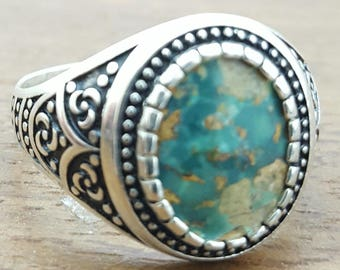 Handmade Silver Mens Ring With Natural Turquoise Stone