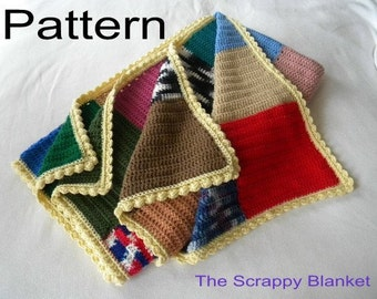 Crochet Blanket PDF Pattern Afghan The Scrappy Blanket Patchwork Quilt and Colorful Blue Green and Pink