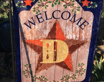 Personalized Rustic Welcome Garden Flag