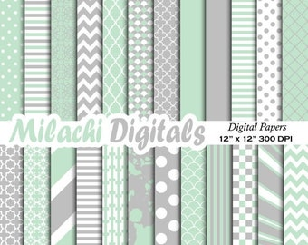 60% OFF SALE Mint and gray digital paper, background, scrapbook papers, stripes, chevron, polka dots - M351