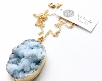 ORION Blue and White Druzy Necklace. FAST Shipping w/ Tracking for US Buyers. Will Arrive to you in a Gift Box w/ Ribbon.