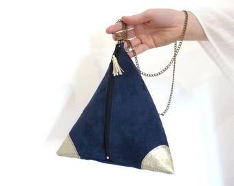 clutch, shoulder bag dark blue