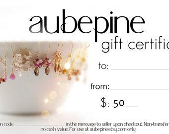 aubepine 50 Dollar Gift Certificate