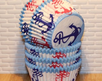 NEW - Anchors Away Heavy Duty Cupcake Liners (Qty 32) Anchors Cupcake Liner, Anchors Baking Cup, Nautical Cupcake Liner, Nautical Baking Cup