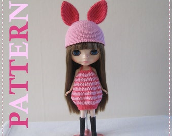 ENGLISH Instructions - Instant Download PDF Crochet Pattern Piggy Dress and Hat
