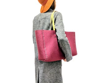 Wool Felt Beach Tote with Leather Handles/ Felt Tote/Picnic bag/Large Tote/ Carry All bag/Village Tote Company