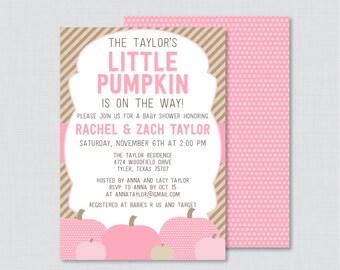 Little Pumpkin Baby Shower Invitation Printable or Printed - Pink Pumpkin Baby Shower Invite, Fall Baby Shower Invitation Girl Invite 0035-P