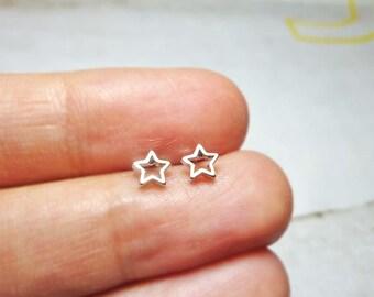 Open Star Stud Earrings, Silver Star Earrings