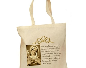 Catholic Tote Bag Blessed Mother Immaculate Heart Retro Gift Canvas Vintage Fabric Personalized Traditional 2 Sizes Religious Gift