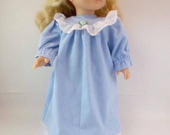 "18 inch Doll Sleepwear Pale Blue Flannelette Nightgown to fit 18"" American Girl Doll"