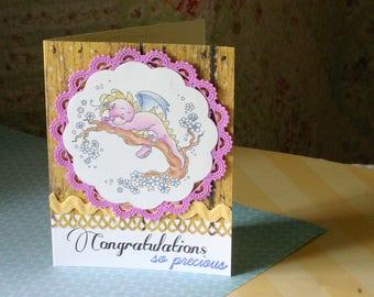 Bébé fille Dragon Félicitations Shower de bébé carte de vœux