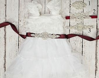 Rustic Lace Flower Girl Dress, Flower Girl Dress, White Lace Dress, baby lace dress, Flower Girl Dresses, Toddler Dresses, Country Dress