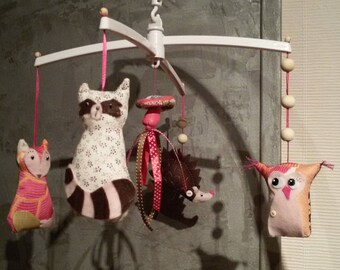 """Enchanted forest"" felt and fabric mobile"