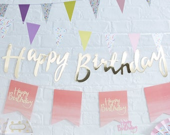 Gold Happy Birthday Banner, Gold Birthday Bunting, Gold Birthday Party Decorations, Script Bunting, Gold Garland