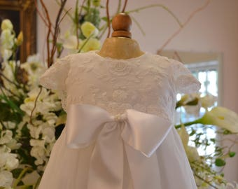 Christening, Baptism Gown, Heirloom Gowns, Dedication Gown, Blessing Gown, Christening Dress/ White/ Girls 3-6 months