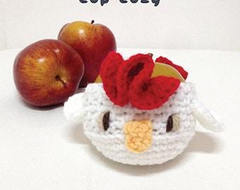 Crochet Pattern Chicken Fruit cozy Rooster Apple protector Cock Mug Sleeve Hen Cup warmer Apple cozy Chicks Cup Crochet cozy Chics Cozy