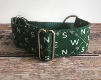 "1.5"" Green Compass dog collar lurcher martingale greyhound collar - arrows half check collar, sighthound collar, wide dog collar"