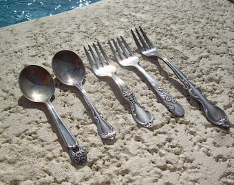 Antique set of 5 silver Spoons and small forks hallmarked with different stamps