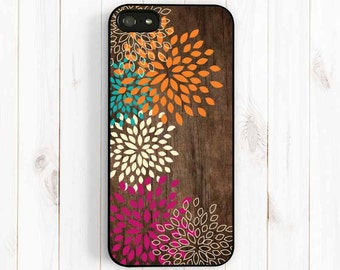 Colorful Dahlia Print Case, Printed Image False Wood, Samsung Galaxy S3 S4 S5 Case, Samsung Note 3, iPhone 7 5c, iPhone 5s, iPhone sS np27