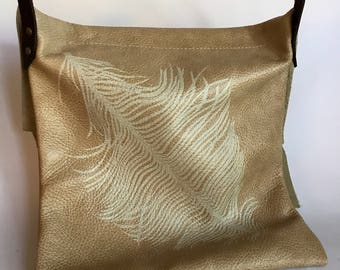 Cream Leather Crossbody Bag w/Feather