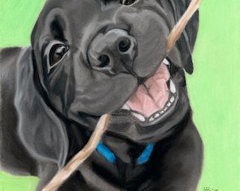 Puppy Art Print, Black Lab Puppy Art, Labrador Retriever Art, Dog Lover Gift, Dog Decor - Fine Art Giclee Print of an Original Pawstel