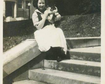 vintage photo Young Woman Sits on Steps Holding Boston Terrier Puppy Dog