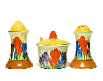 Clarice Cliff Bizarre 3 Piece Condiment Set Autumn Crocus