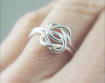 Double Love Knot Ring / Promise Ring / Sterling Silver Love Knot Ring / Celtic Knot Ring  / Silver Ring / Wedding Ring / Celtic Ring Women