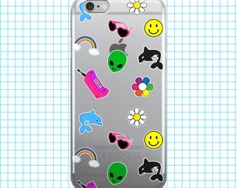 90s Sticker Stuff Orca Dolphin Alien Daisy Happy Face Rainbow - Clear Plastic Phone Case for iPhones