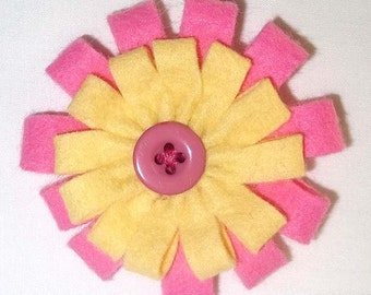 Pink and Yellow Felt Flower Brooch Accessory