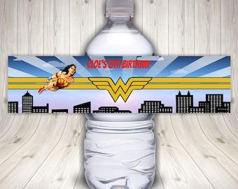 Wonder Woman Water Bottle Labels, Superhero Birthday Party, Wonder Woman Favor Labels, Wonder Woman Tags, Wonder Woman Sticker, Waterproof