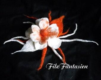 Hair blossom, brooch, felted flower, Filzblume in orange and white