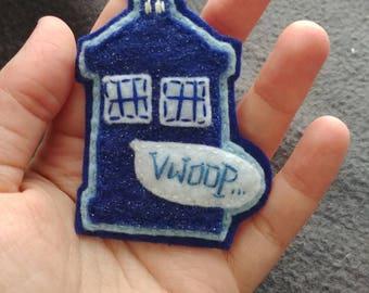 "Hand-sewn TARDIS pin, ""VWOOP"" noise bubble"