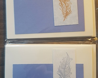 Sale!! 2 packs for the price of 1! Feather stamped notecards.