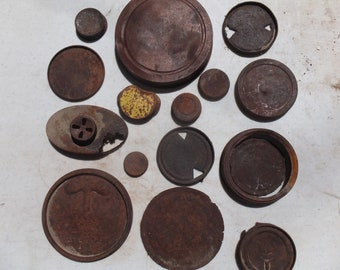 Rusty Can Lids, 16 Awesome Mixed Size Rusty Can Lids-craft project, mixed media, folk art, altered art