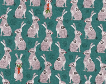 Charming Bunnies: Teal & Gray - Japanese Import Fabric (By the Half Yard)