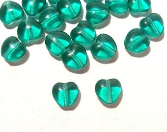 Czech Green Glass HEART Beads Twenty Five (25) Czech Glass Hearts 7mm x 8mm VINTAGE Glass Bead Wedding Jewelry Supplies (R12)
