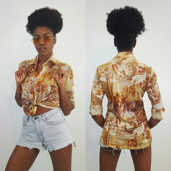 70's Renaissance Print Long Sleeve Disco Shirt Small Brown Retro Polyester Blouse - Tan Beige Medium Women's All Over Printed Collared Top