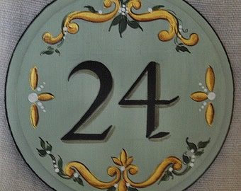 Custom house number plaque, rd. mint wooden house address plaque