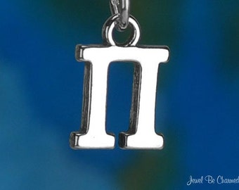 Solid Sterling Silver Greek Letter Pi Charm Fraternity Sorority .925