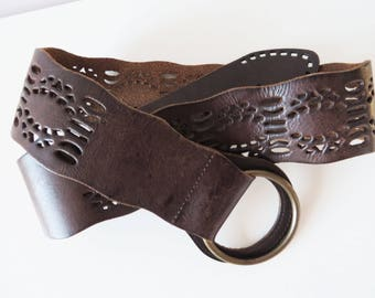 Thick Leather Belt Dark Brown Leather Belt Genuine Leather Belt Cutout Leather Women Belt Wide Perforated Leather Belt Boho Fashion