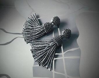 Black metalic hematite beaded tassel Earrings, 2,5 inch, statement tassel earrings, dangle earrings, Designer earrings, sterling silver