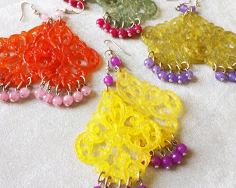Colorful Gemstone Chandelier statement earrings, Mother's day gift, Vintage Lucite filigree boho crystal earrings, Ethnic earrings