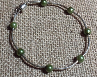Silver Bracelet Green Pearl Count Your Blessings #387 One Of A Kind
